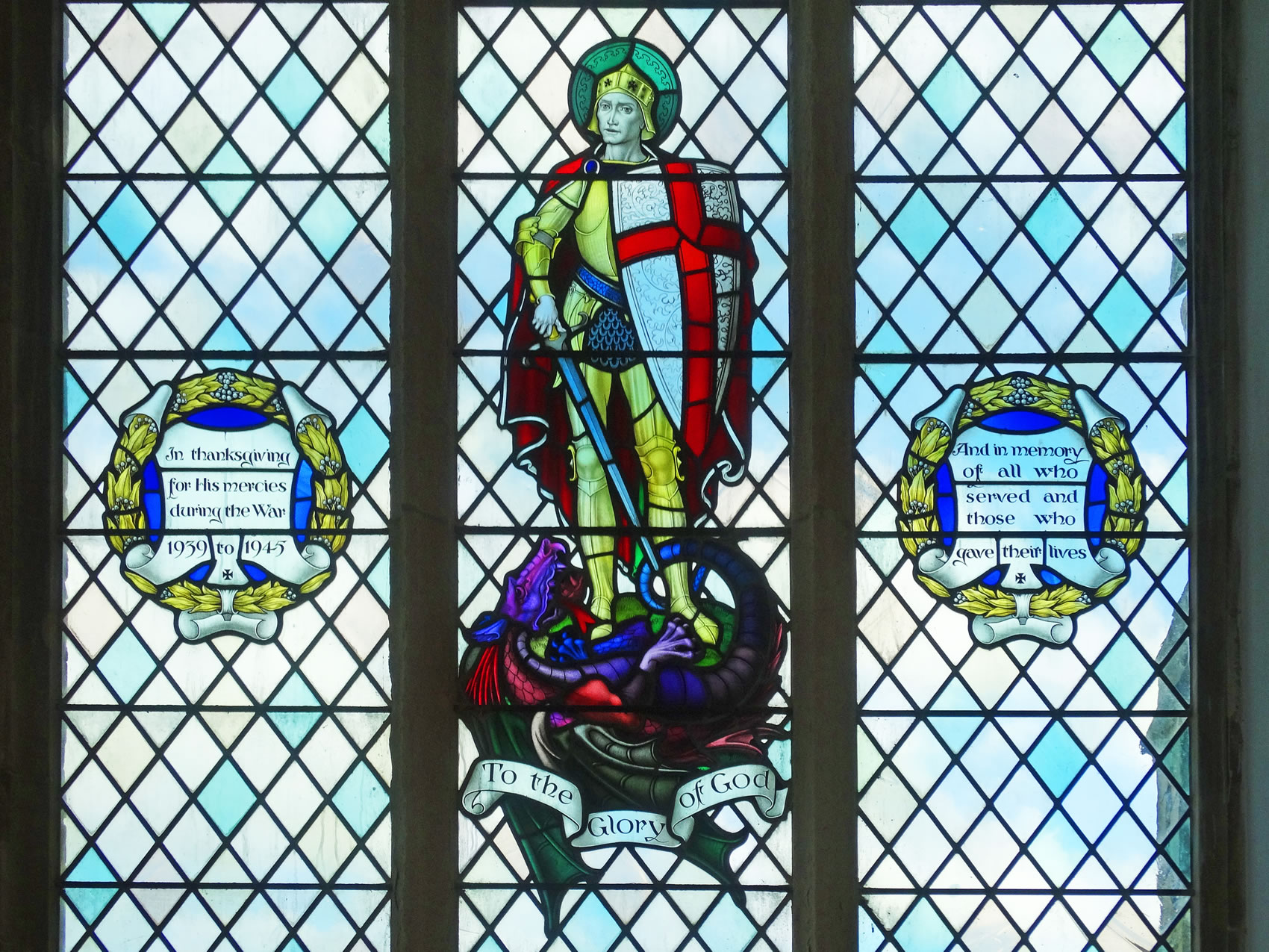 Stained Glass Window Of An English Knight In Happisburgh Church