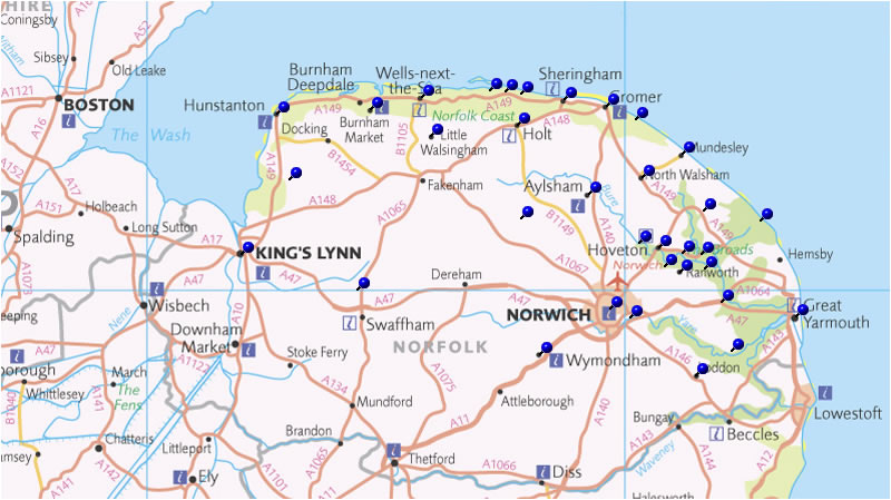 Norfolk Tea Rooms and Cafe Map