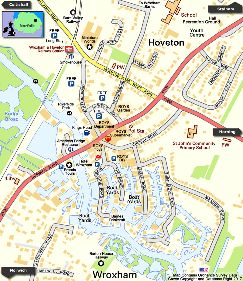 Wroxham/Hoveton Map