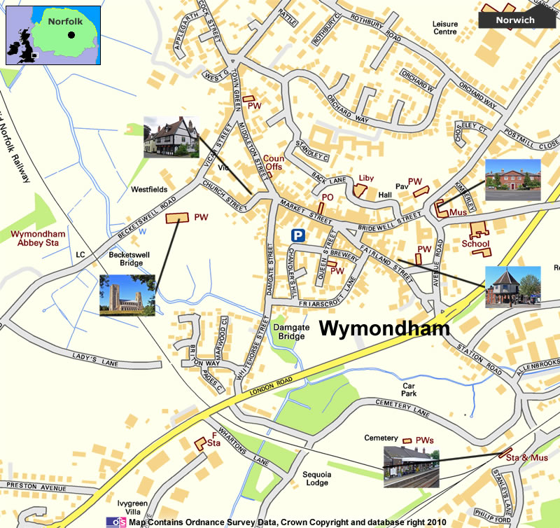 Wymondham Norfolk including Wymondham Abbey Wymondham Railway Station